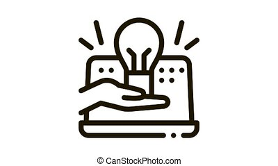 computer savvy Icon Animation. black computer savvy animated icon on white background