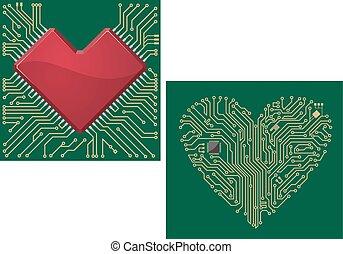 computer, scheda madre, con, cuore