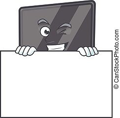 Computer screen cartoon character with funny face hides behind a board
