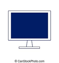 computer screen icon over white background, flat design