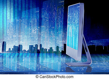 Computer screen in business concept - 3d rendering