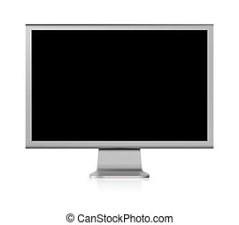 computer screen LCD with blank screen on white background
