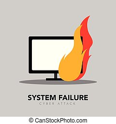 Computer screen on fire icon. System failure