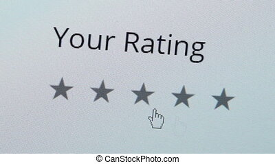 Computer Screen Rating One Star Closeup - Close up shot of a...