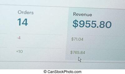Computer Screen Website Revenue Closeup - Close up shot of a...