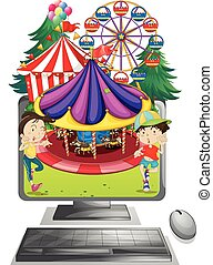 Computer screen with children at carnival