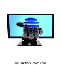 Computer screen with hand isolated on white