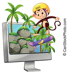 Computer screen with monkey on skateboard
