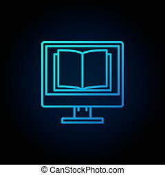 Computer screen with open book