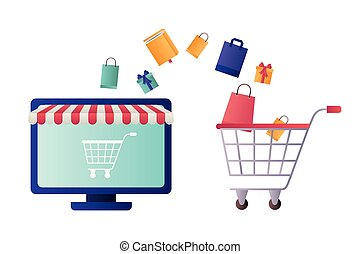 computer screen with tent and shopping cart