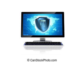 Computer security concept - Secured computer conceptual...