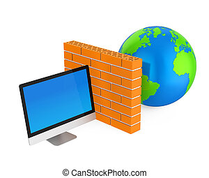 Computer Security Firewall Concept