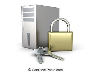 Computer security - A secure Desktop PC. 3D rendered...