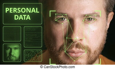 Computer security system scanning man's face. Personal data...