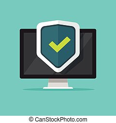 Computer security vector illustration, flat cartoon desktop pc with closed lock, concept of firewall protection, privacy access, private data, safety service or system
