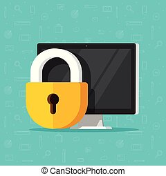 Computer security vector illustration isolated, flat cartoon design desktop pc protected with lock, concept of firewall protection, privacy access, private data, safety service or system clipart