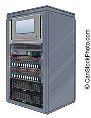 Computer Server Cabinet - Illustration of cabinet with...