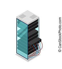Computer server rack isometric 3D icon. Data centre sign,...