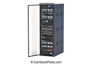 Computer Server Rack with opened door, 3D rendering