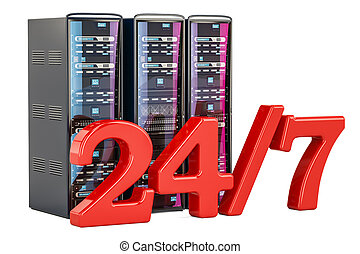 Computer Server Racks 24/7. Support and service concept, 3D rendering