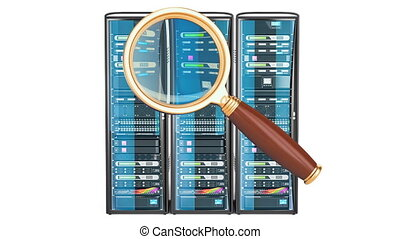Computer Server Racks with magnifier, 3D rendering isolated...