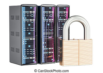 Computer Server Racks with padlock. Security and protection concept, 3D rendering