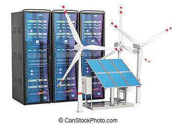 Computer server racks with solar panels and wind turbines, 3D rendering