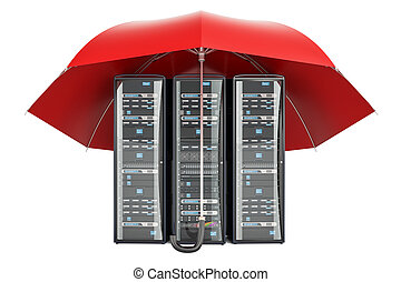 Computer Server Racks with umbrella, protection concept. 3D rendering