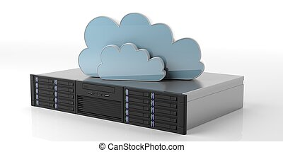 Computer server unit and storage cloud on white background. 3d illustration