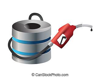 computer server with a gas pump nozzle