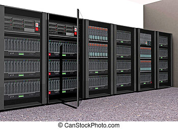 Computer Servers  - 3D render of a set of computer servers