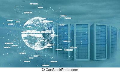 computer, servers, animatie