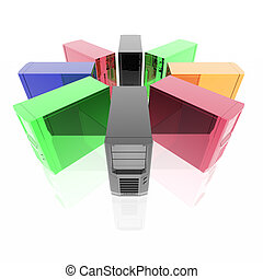 computer servers in ring isolated on a white background