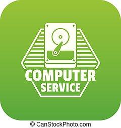 Computer service icon green vector