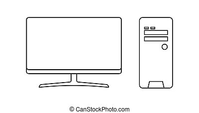 Computer set flat icon isolated on white background. Modern vector illustration