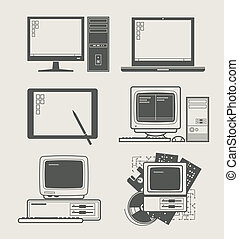 computer set icon - computer new and old set icon vector...