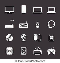 computer, set, icona