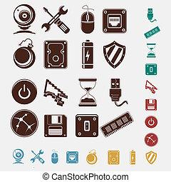 computer, set, icone