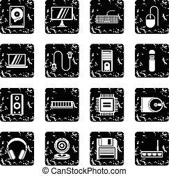 Computer set icons, grunge style
