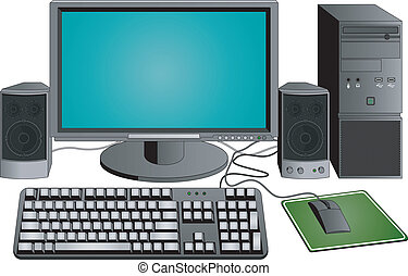 computer set, isolated illustrations, image format A4