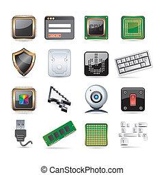computer, set, onderdelen