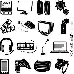 computer, set, onderdelen, iconen