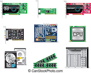 computer, set., p.4, vettore, bianco, icona
