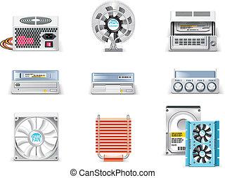 computer, set., p.5, vettore, bianco, icona