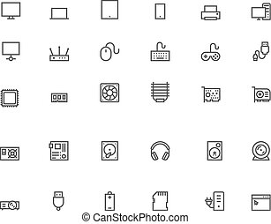 computer, set, pictogram