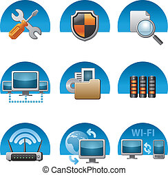 computer, set, rete, icona