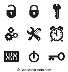 computer settings icons - set vector computer icons of ...