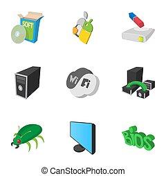 Computer setup icons set, cartoon style