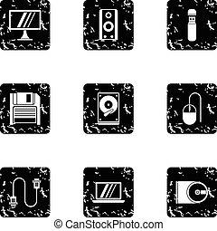 Computer setup icons set, grunge style