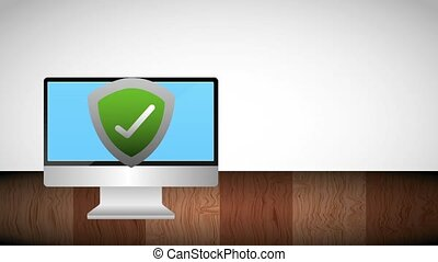 computer shield protection checkmark on screen animation